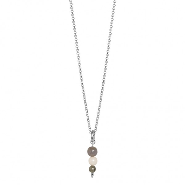Dance Necklace Multi - stone Matt silver Length 45 cm