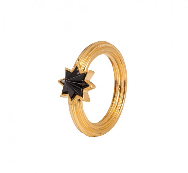 Star Summer light Ring Black Onyx Matt gold Size - 8
