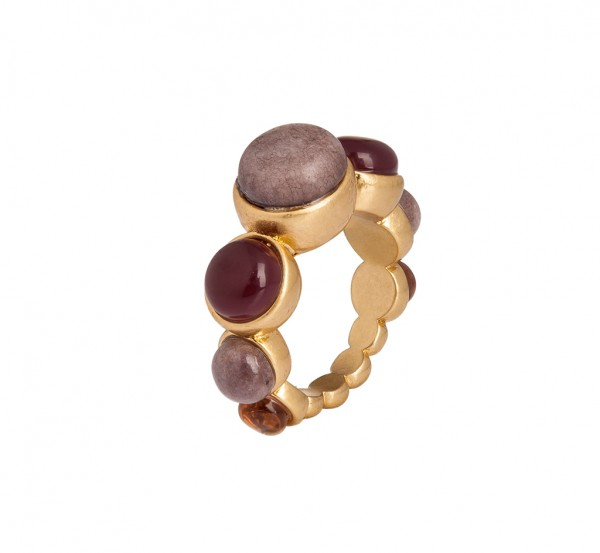 Silence Summer light Ring Purple Aventurine Matt gold Size - 7