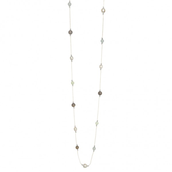 Sirlig Necklace Multi - stone worn silver - 100 cm