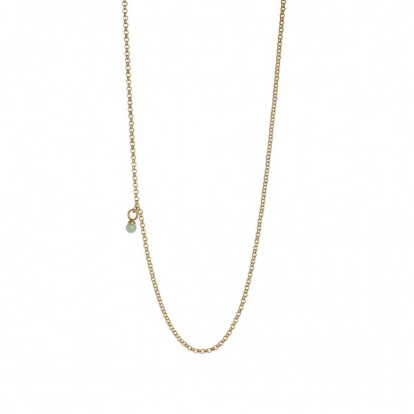 Roots Necklace Green Aventurine worn gold - 60 cm