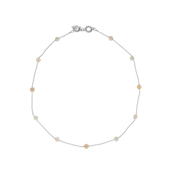 Harmony Necklace Multi - stone Worn gold Length 45 cm