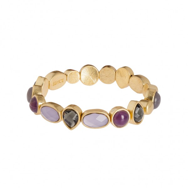 Caligraphy Bracelet Multi - stone Matt gold