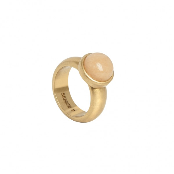 Mindfulness Ring Rose Aventurine worn gold S8