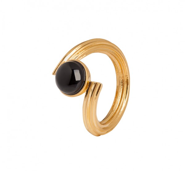 Star Summer light Ring Black Onyx Matt gold Size - 7