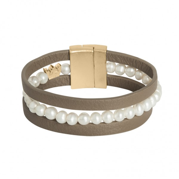 Music Bracelet Freshwater Pearls Taupe leather Matt gold