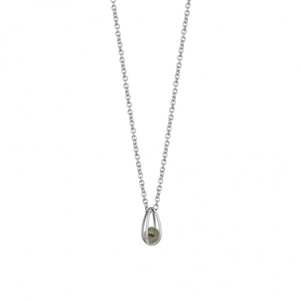 Balloon Necklace Labradorite Matt silver Length 45 cm