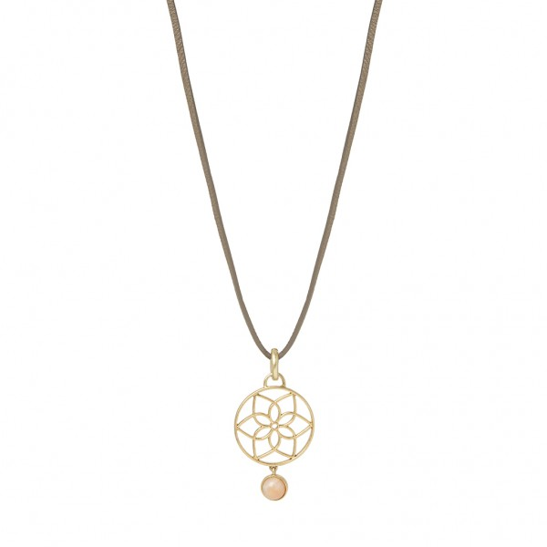 Mindfulness Necklace Rose Aventurine taupe leather worn gold Length - 110 cm
