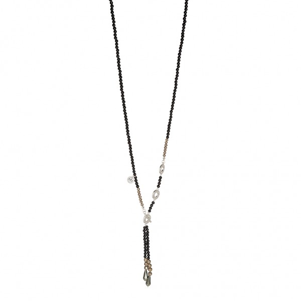 Laughter Necklace Black Agate Matt silver Length 80 cm