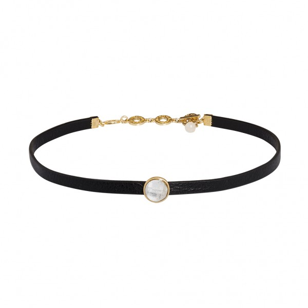 Poem Choker Aquamarine Black leather Matt gold Length 35 cm
