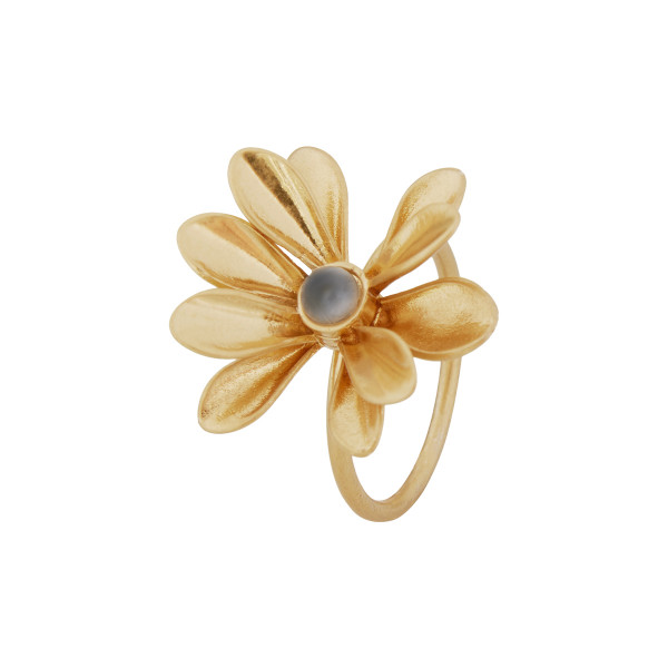 Daydreaming Couture Fingerring, grauer Achat, matt gold, Ringgrösse 7