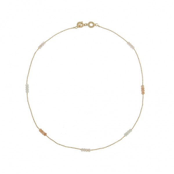 Harmony Necklace Multi-stone Worn Gold Length 53 cm