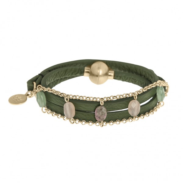 Hugs Bracelet Multi-stone green leather worn gold