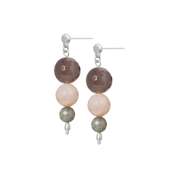 Dance Earrings Multi - stone Matt silver