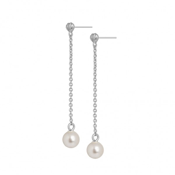 Dance Summer light Earrings Freshwater Pearl Matt silver