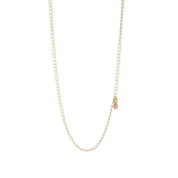 Roots Necklace Pink Jade worn gold - 60 cm