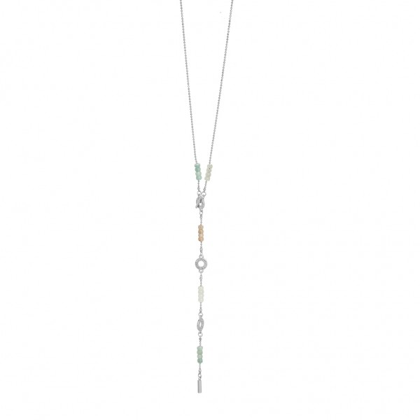 Harmony Necklace Multi - stone Worn silver Length 110 cm