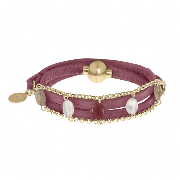 Hugs Bracelet Multi-stone coral red leather worn gold