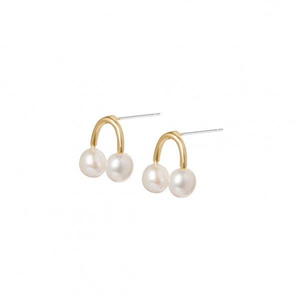Music Earstuds Freshwater Pearls Matt gold