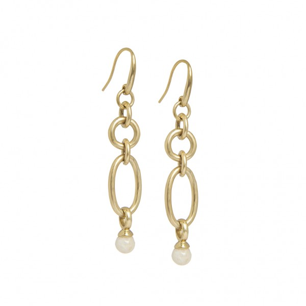 Experiment Earrings White Jade Worn gold
