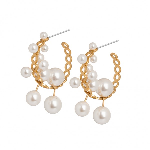 Couture Summer light Creoles Freshwater Pearl Matt gold